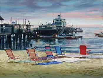 Beach Stakeout. Click here to see enlargement. © Ruth Mayer Fine Art.