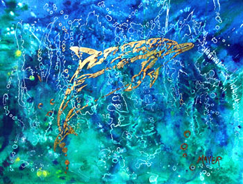 Gold Dolphin. Click here to see enlargement. © Ruth Mayer Fine Art.
